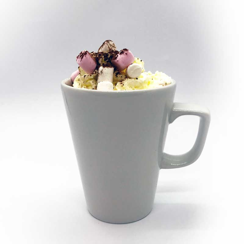 Hot chocolate with cream and marshmallows from Quigleys cafe, bakery and deli