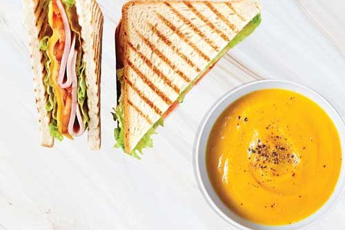 Soup and sandwich combo from Quigleys cafe and deli