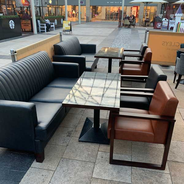 Outdoor couches and tables available outside Quigleys bakery, cafe and deli Kilkenny