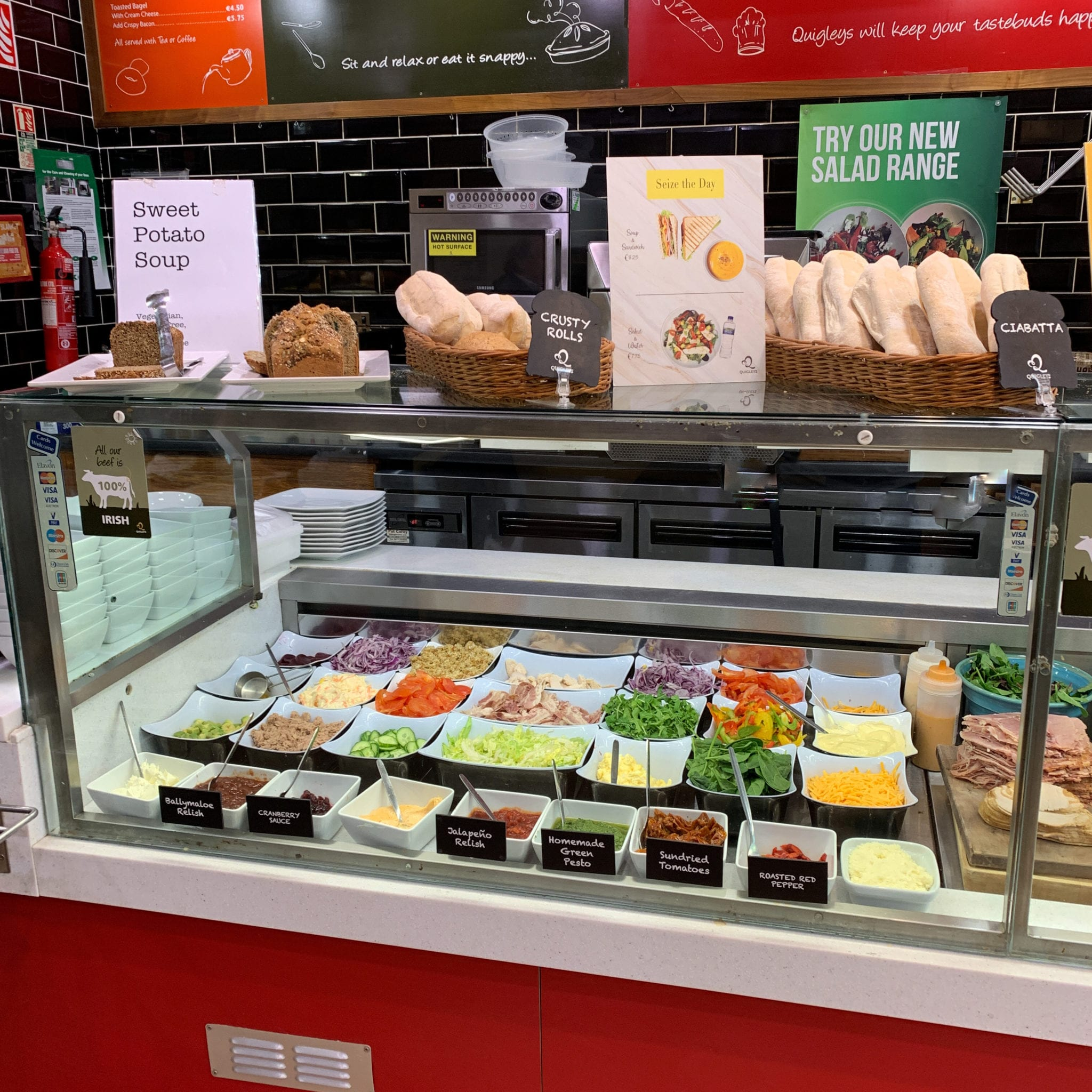 A choice of fillings available in Quigleys Thurles including salads, cheese and meat options