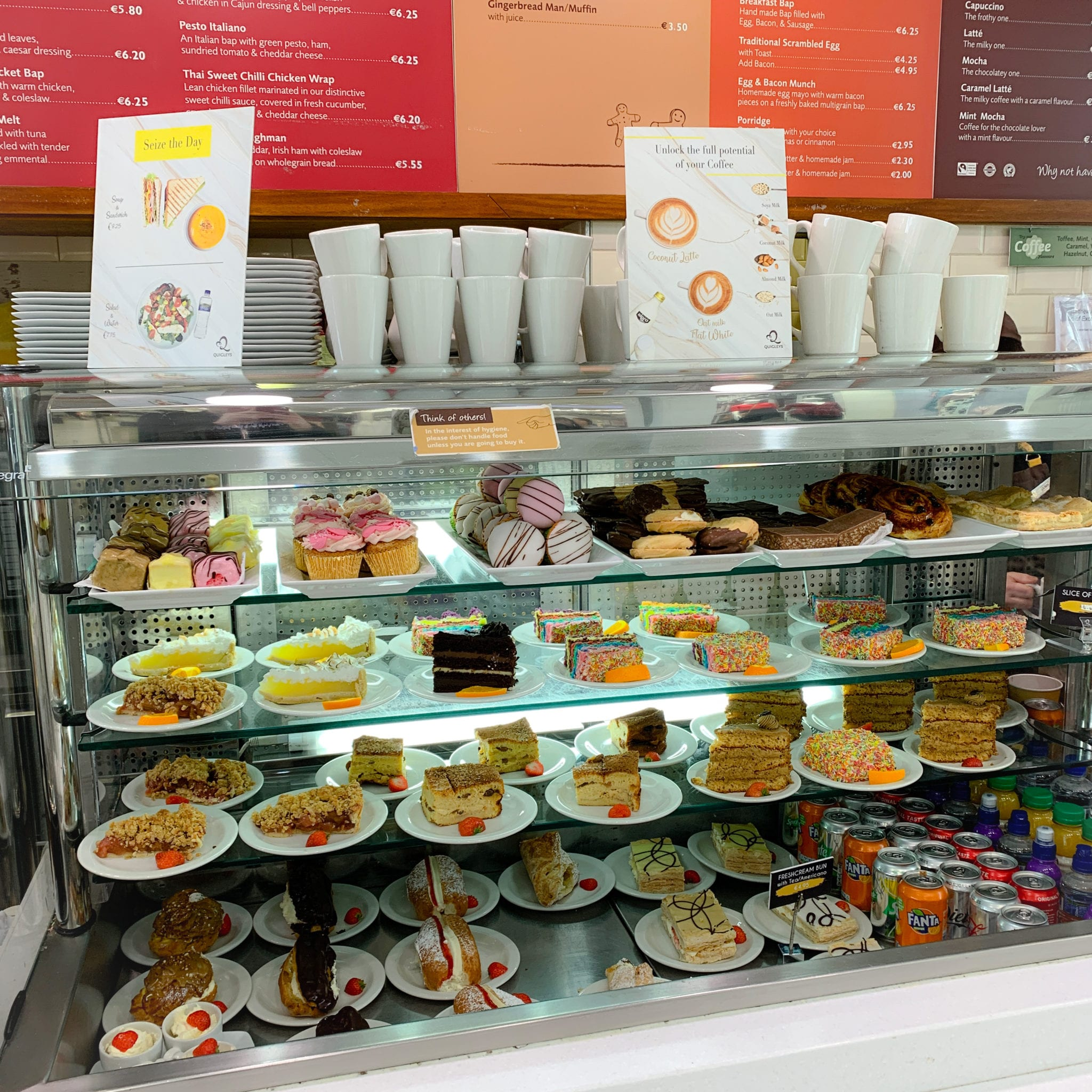 Fresh cream cakes, biscuits, cupcakes and desserts available in Quigleys bakery